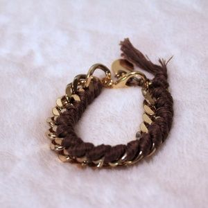 Jewelry - Brown Thread and Gold Metal Chain Bracelet